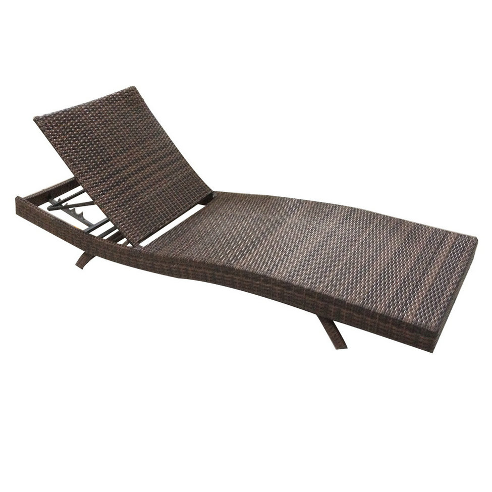 """79"""" Outdoor Patio Furniture PE Wicker Adjustable Pool Chaise Lounge Chai"""