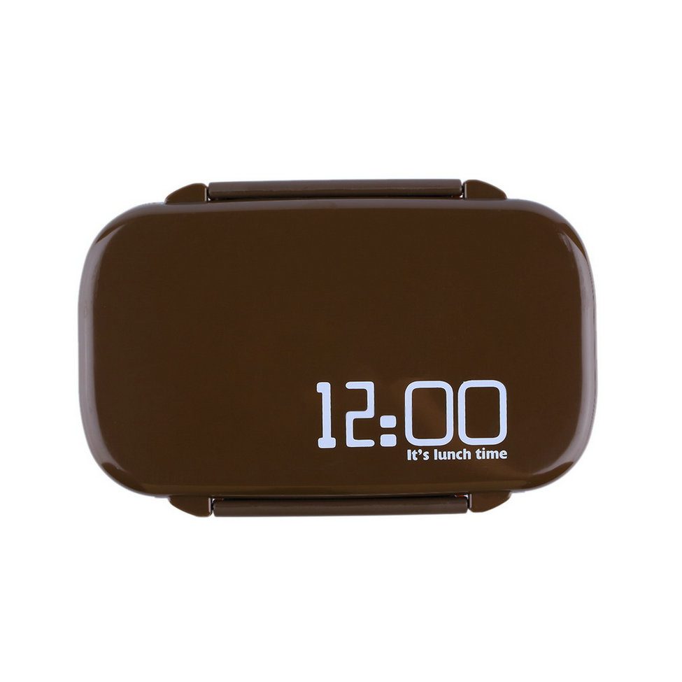 allwin portable 2 layers bento lunch box plastic food container lunch container brown export. Black Bedroom Furniture Sets. Home Design Ideas