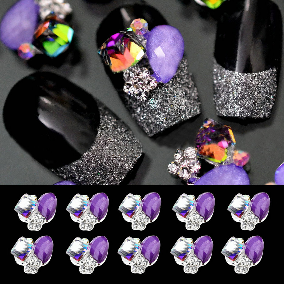 10pcs 3d alloy purple glitter rhinestone nail art tips for 3d nail art decoration