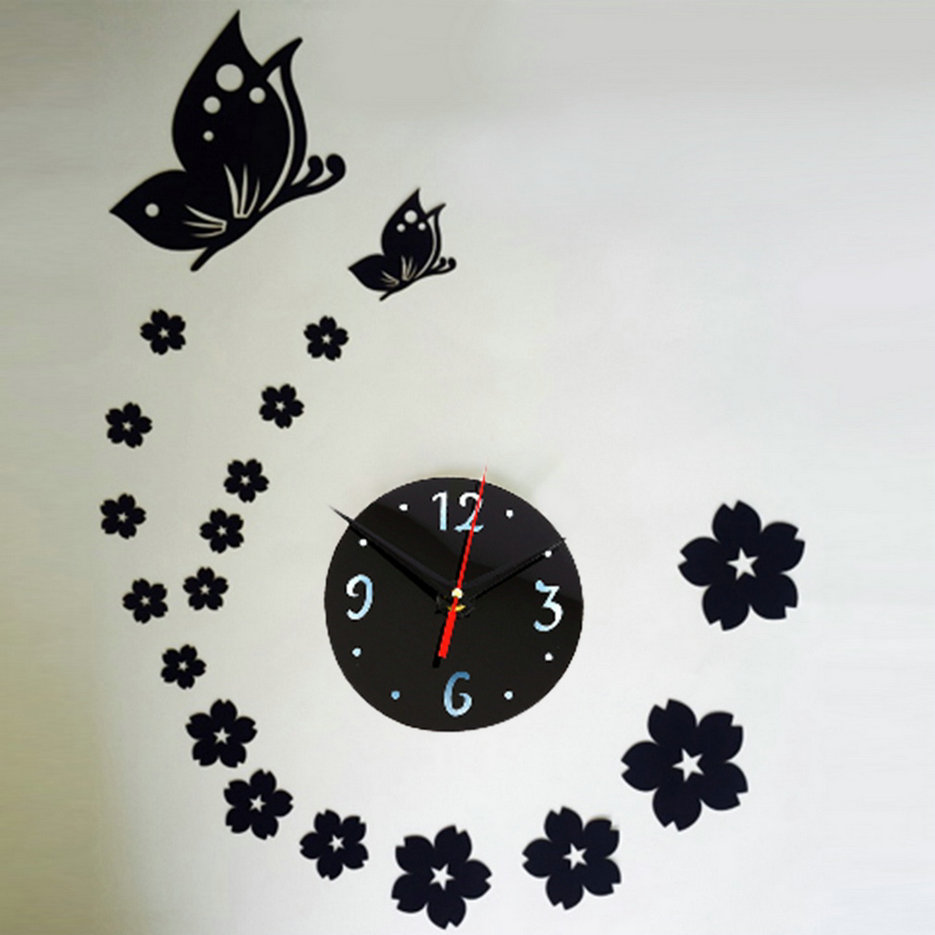 Modern Art Decor Wall Clock Sticker : Diy modern clock mirror wall room butterfly decal decor
