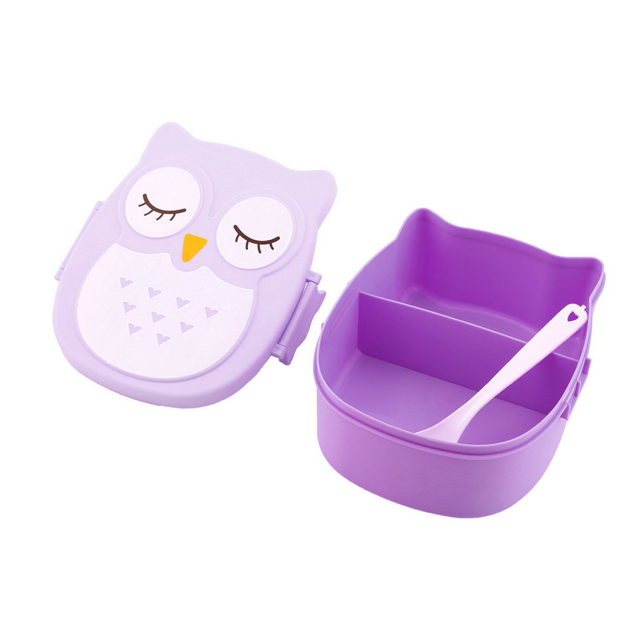 1050ml owl lunch box bento food safe plastic food picnic container iy ebay. Black Bedroom Furniture Sets. Home Design Ideas
