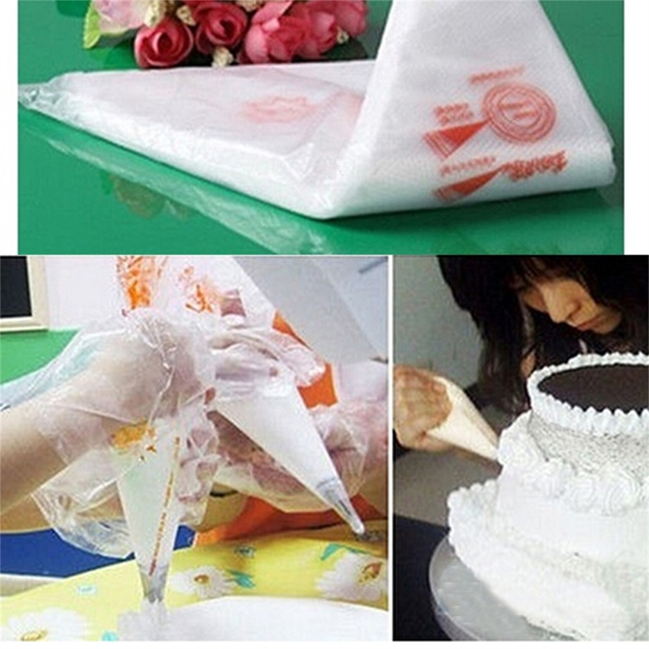 Clear Cake Decorating Bags : 100PCS Disposable Bags Icing Nozzle Fondant Cake ...
