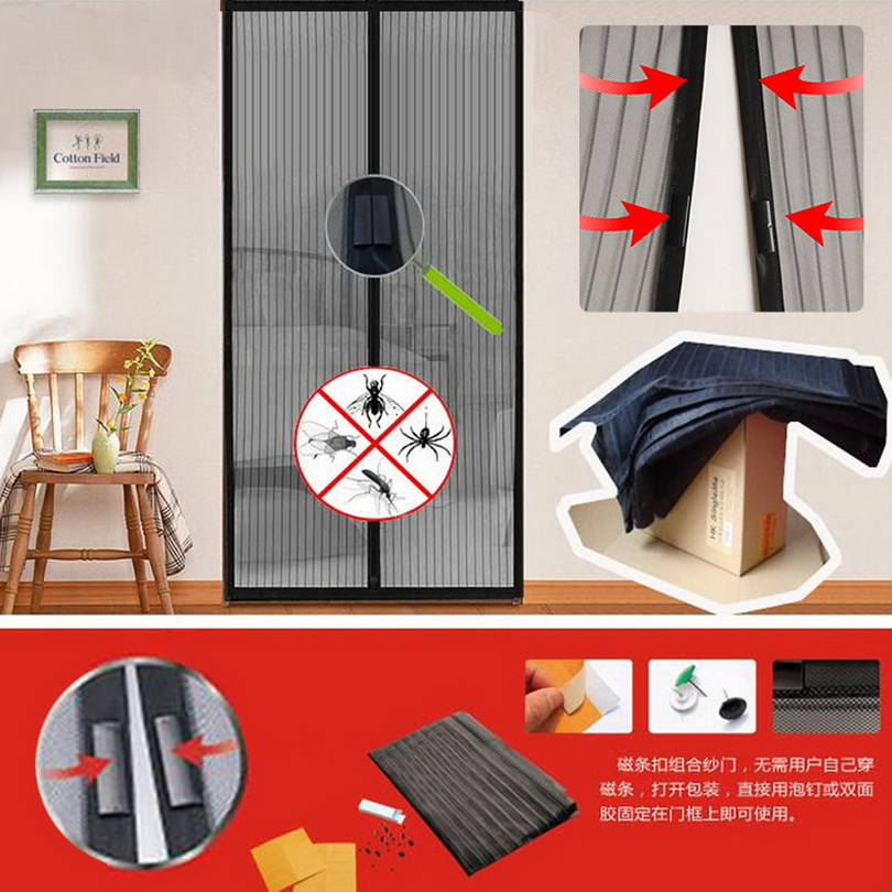 Mesh Insect Fly Bug Mosquito Door Curtain Net Netting Mesh Screen Magnets Wq