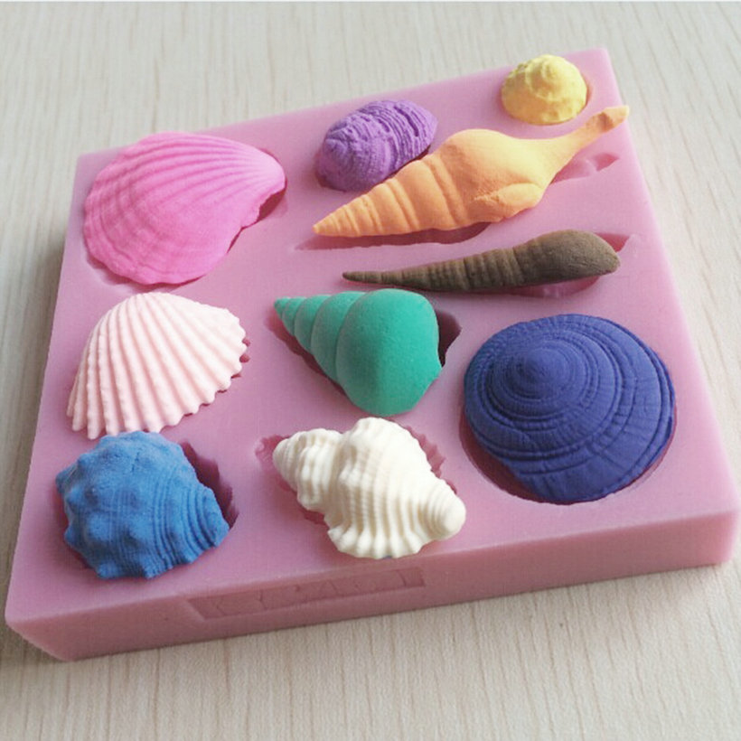Cake Decoration Molds : Silicone 3D Seashell Beach Shells Cake Molds Chocolate ...