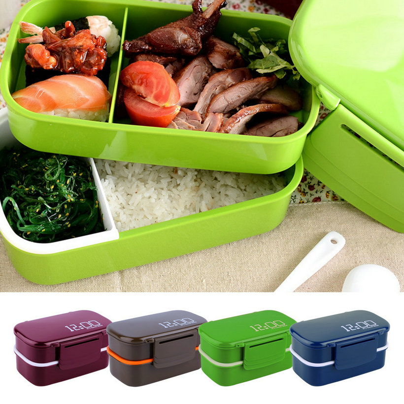Portable 2 layers bento lunch box plastic food container for Decor 900ml container