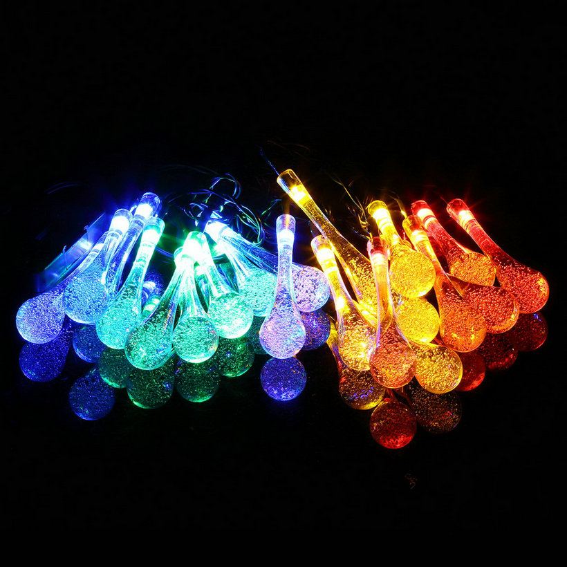 LED Solar Water Drop String Light For Christmas Party Garden Tree Decorative QT eBay