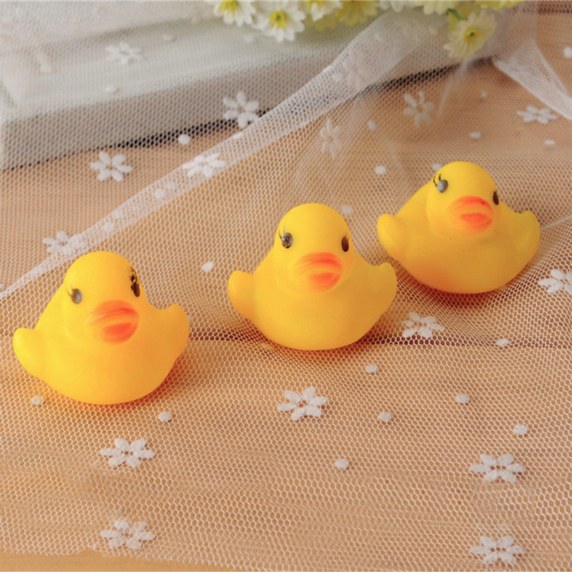 10pcs baby bathing bath tub toys mini rubber squeaky float duck yellow ld ebay. Black Bedroom Furniture Sets. Home Design Ideas