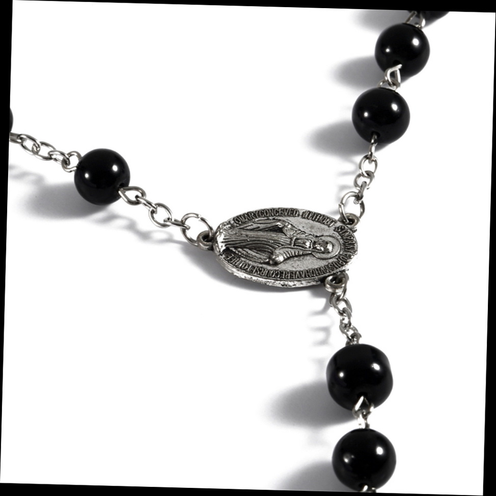 Mens cross pendant black simulated pearl rosary beads for Black and blue jewelry cross necklace