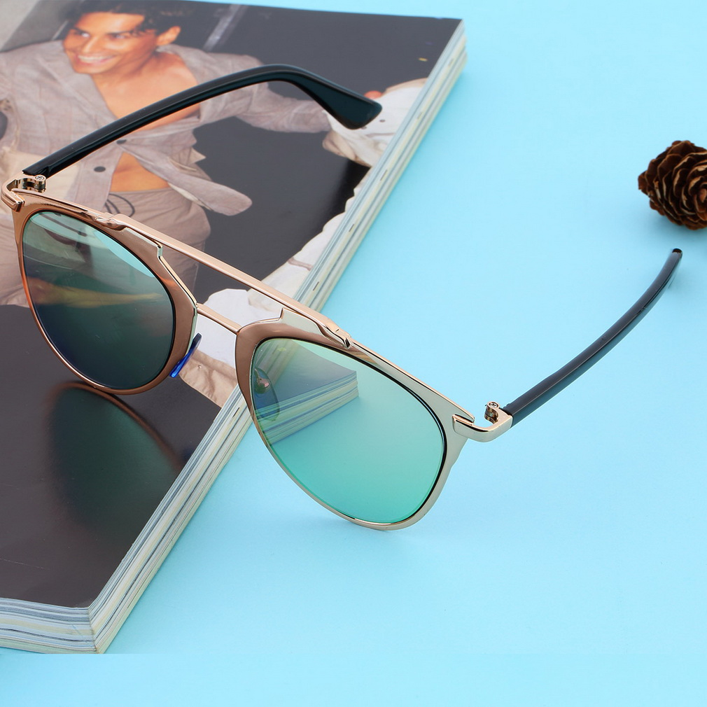 NEW Classic Large Sunglasses Women Metal Frame CAT EYE ...