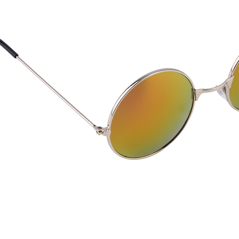 Women men good quality colorful mirror lens round glasses for Mirror quality