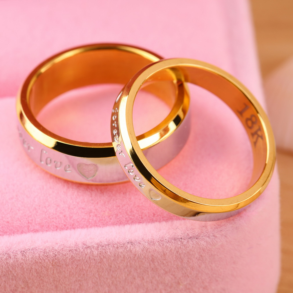 Forever Love Lovers Couple Matching Ring Steel Finger Ring Jewelry ...