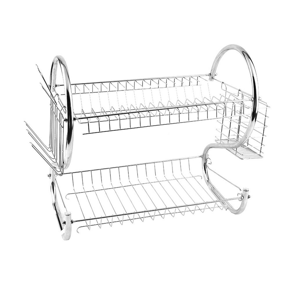 kitchen organization holder 2 tier stainless steel dish drainer drying rack us t ebay. Black Bedroom Furniture Sets. Home Design Ideas