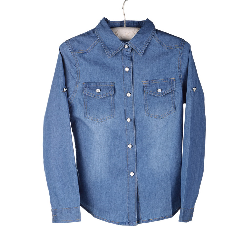 Women 39 s fashion 100 cotton chambray long denim shirt for Chambray shirt women