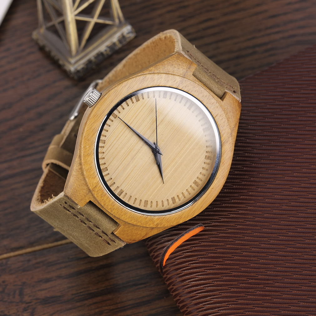 new fashion men 039 s watches genuine leather band bamboo wood new fashion men 039 s watches genuine leather