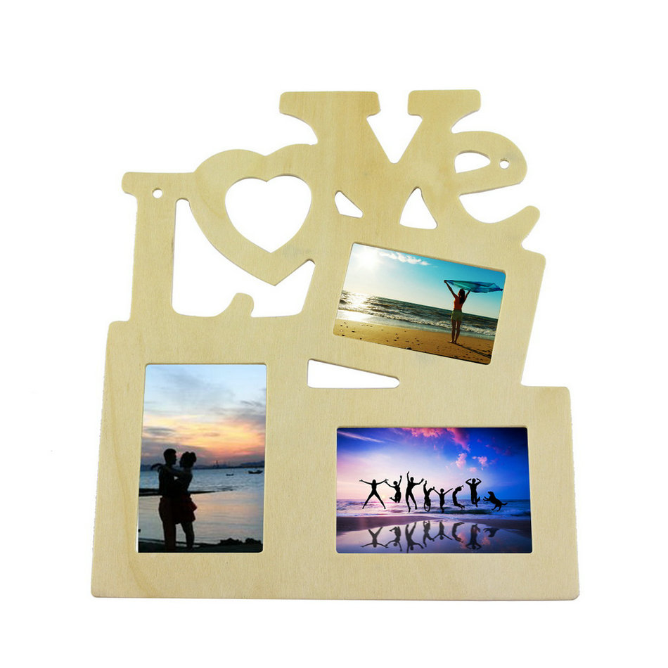 Sweet wooden hollow love photo picture frame home decor for Home decor 2 love