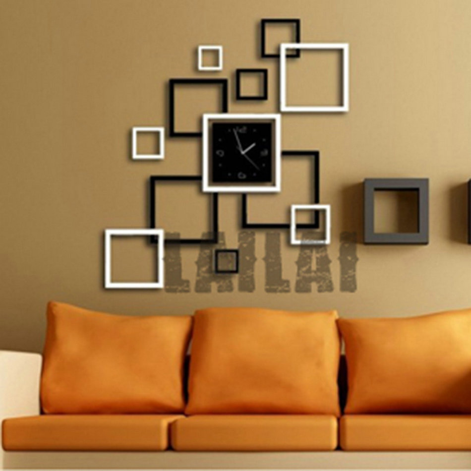 New diy large wall clock home office room decor 3d mirror for Room decor 3d