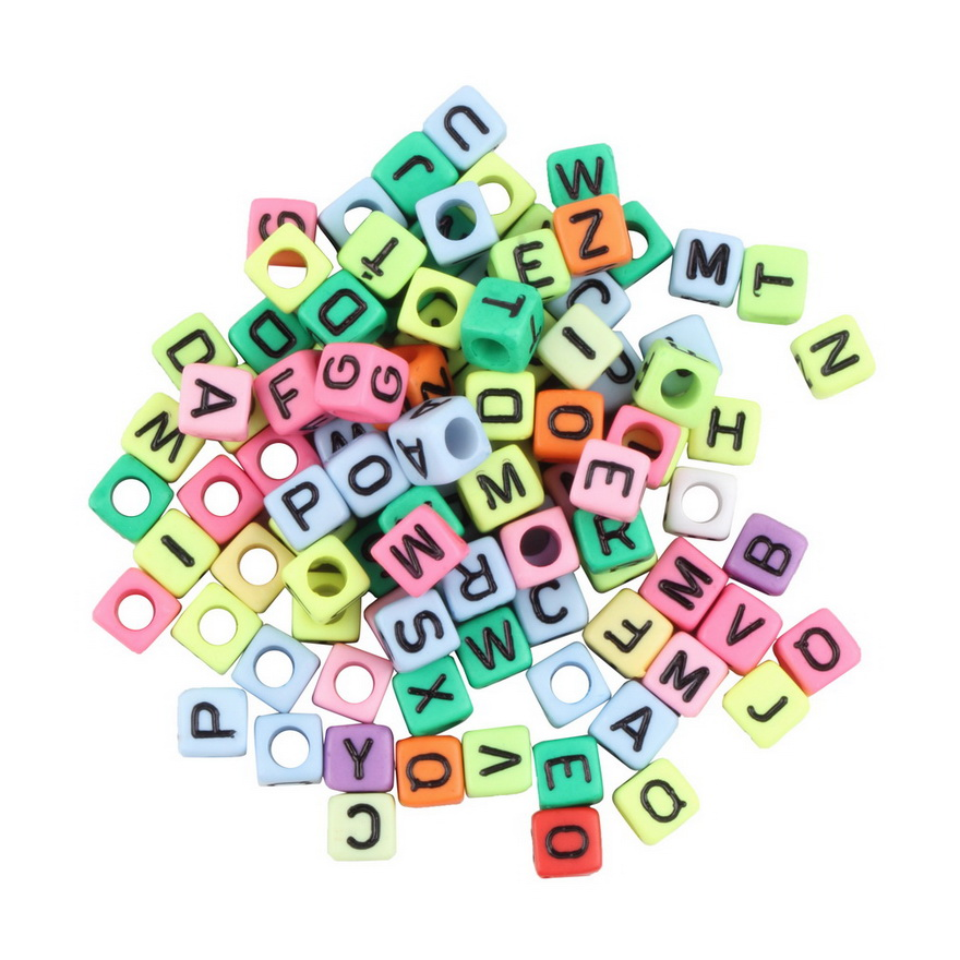 multi colored 6mm alphabet letter charms pony for