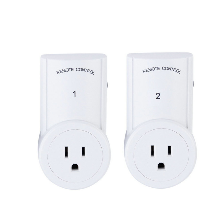 2 pack remote control sockets wireless switch us plug ac. Black Bedroom Furniture Sets. Home Design Ideas
