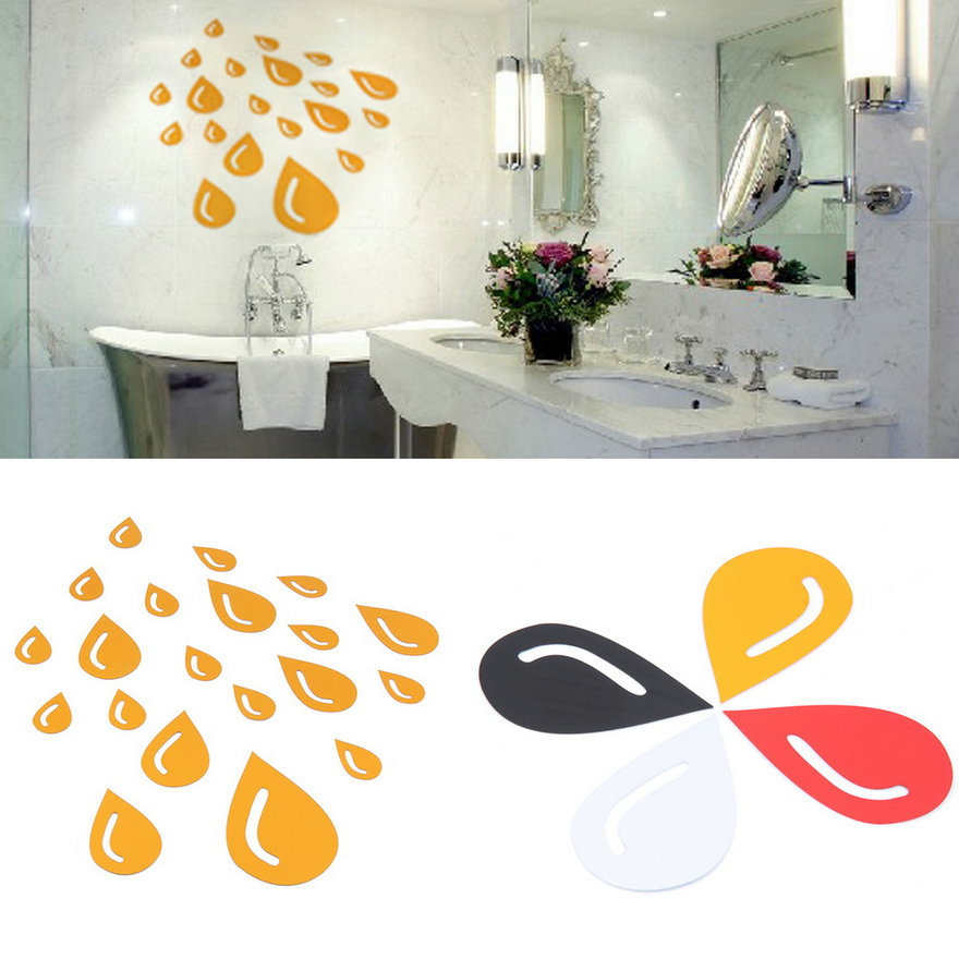 DIY Rain Drop Mirror Surface Art Acrylic Wall Sticker ...