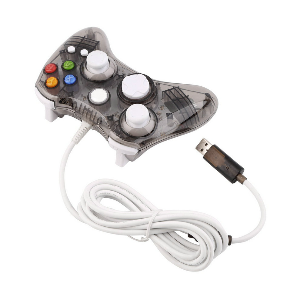 black led glow wired usb gamepad game controller for