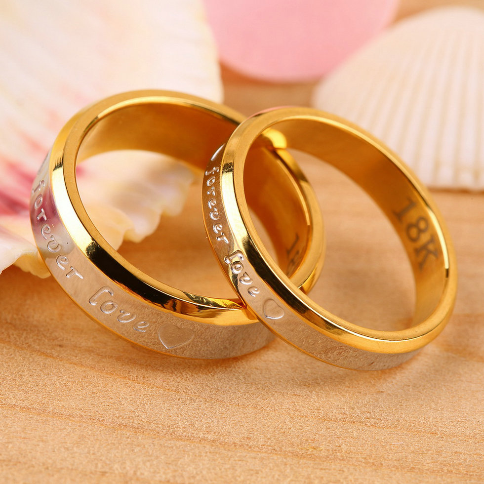 Fashion Forever Love Lovers Couple Matching Ring Steel ...