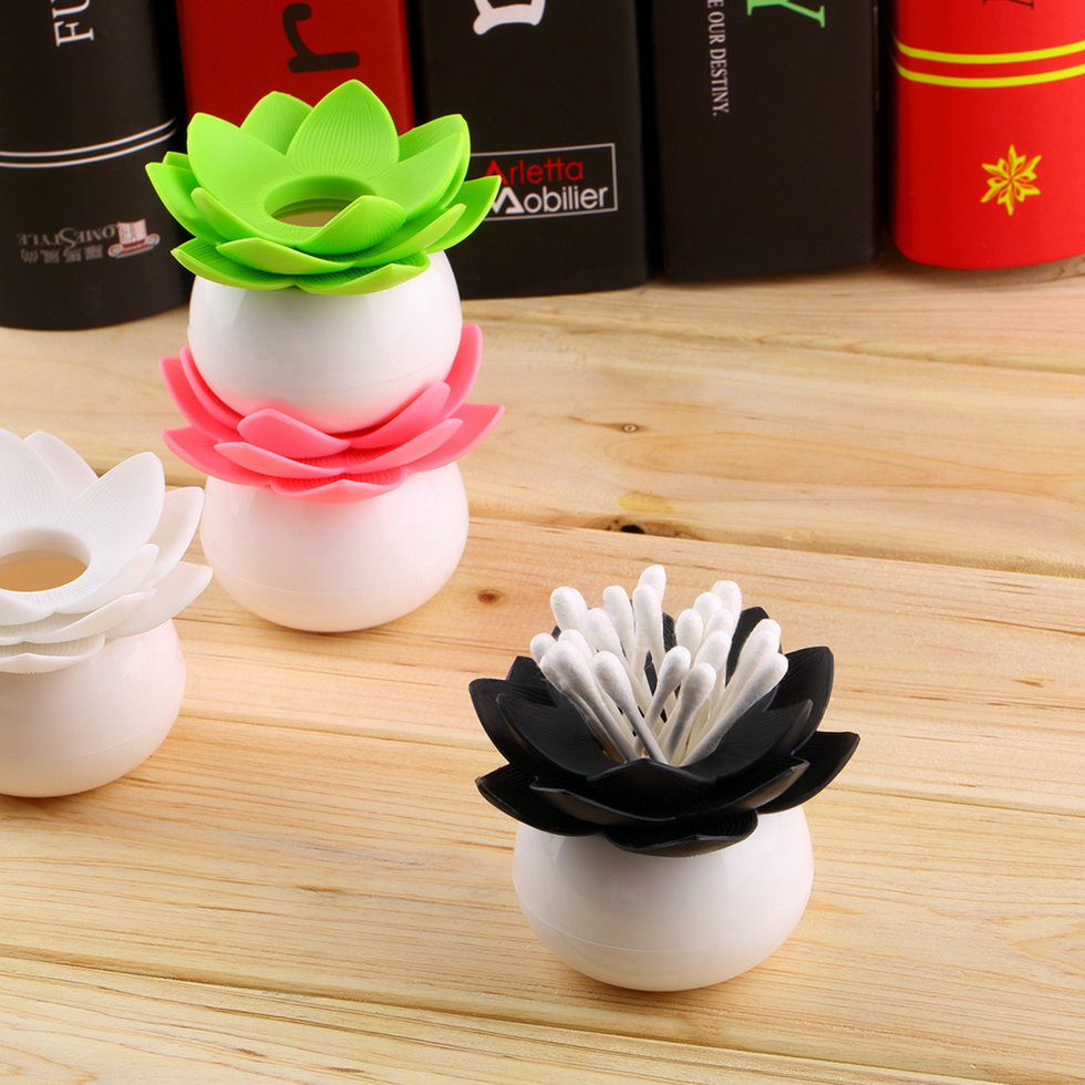 Lotus Flower Cotton Bud Holder Toothpick Case Cotton Swab Box Vase Decor BE