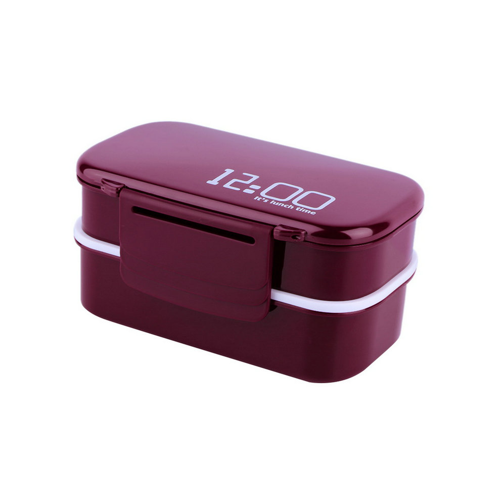 portable 2 layers bento lunch box plastic food container lunch container fss ebay. Black Bedroom Furniture Sets. Home Design Ideas