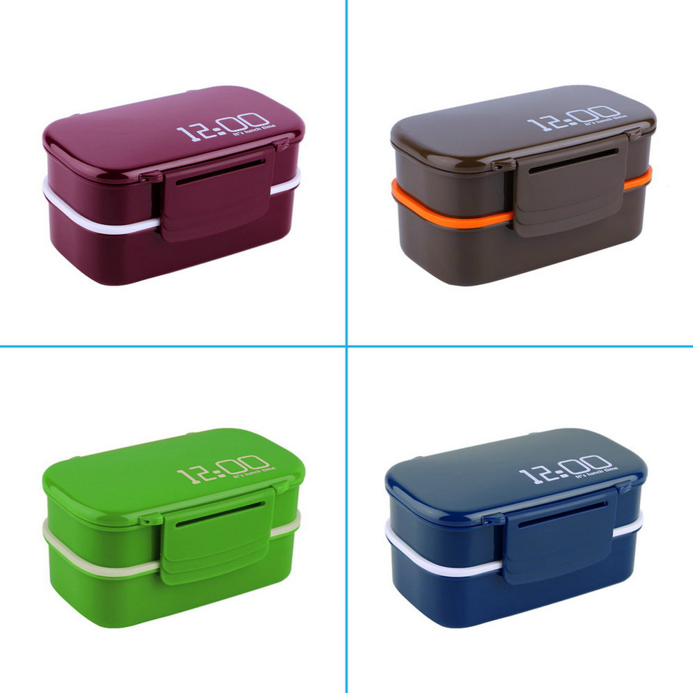 portable 2 layers bento lunch box plastic food container. Black Bedroom Furniture Sets. Home Design Ideas