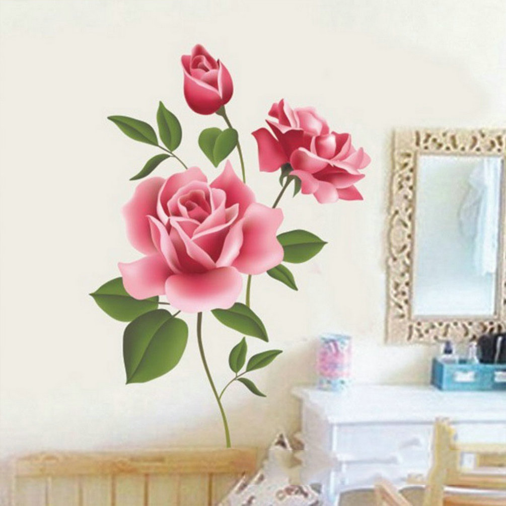 Rose Flower Design Baby Nursery Kids Bedroom Wooden: Rose Flower Wall Stickers Removable Decal Home Decor DIY