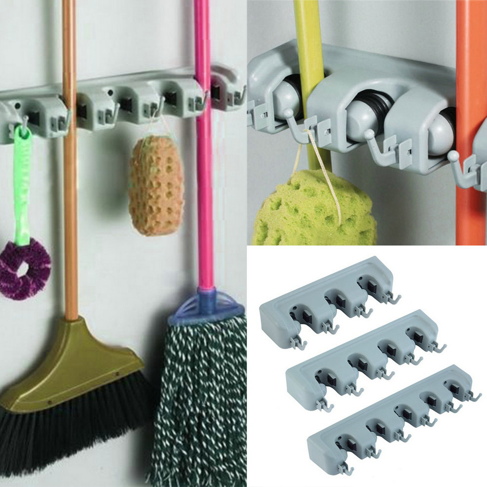 Kitchen Organizer Wall Mounted Mop Organizer Holder Brush Broom Hanger Storage Rack