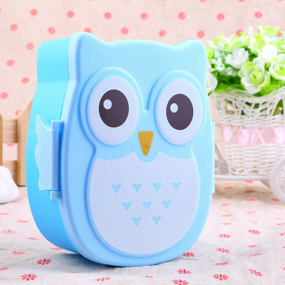 cute cartoon owl lunch box food container storage box portable bento box spoon g ebay. Black Bedroom Furniture Sets. Home Design Ideas