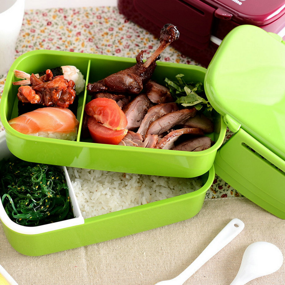 microwave plastic bento lunch box picnic food container large storage spoon g. Black Bedroom Furniture Sets. Home Design Ideas