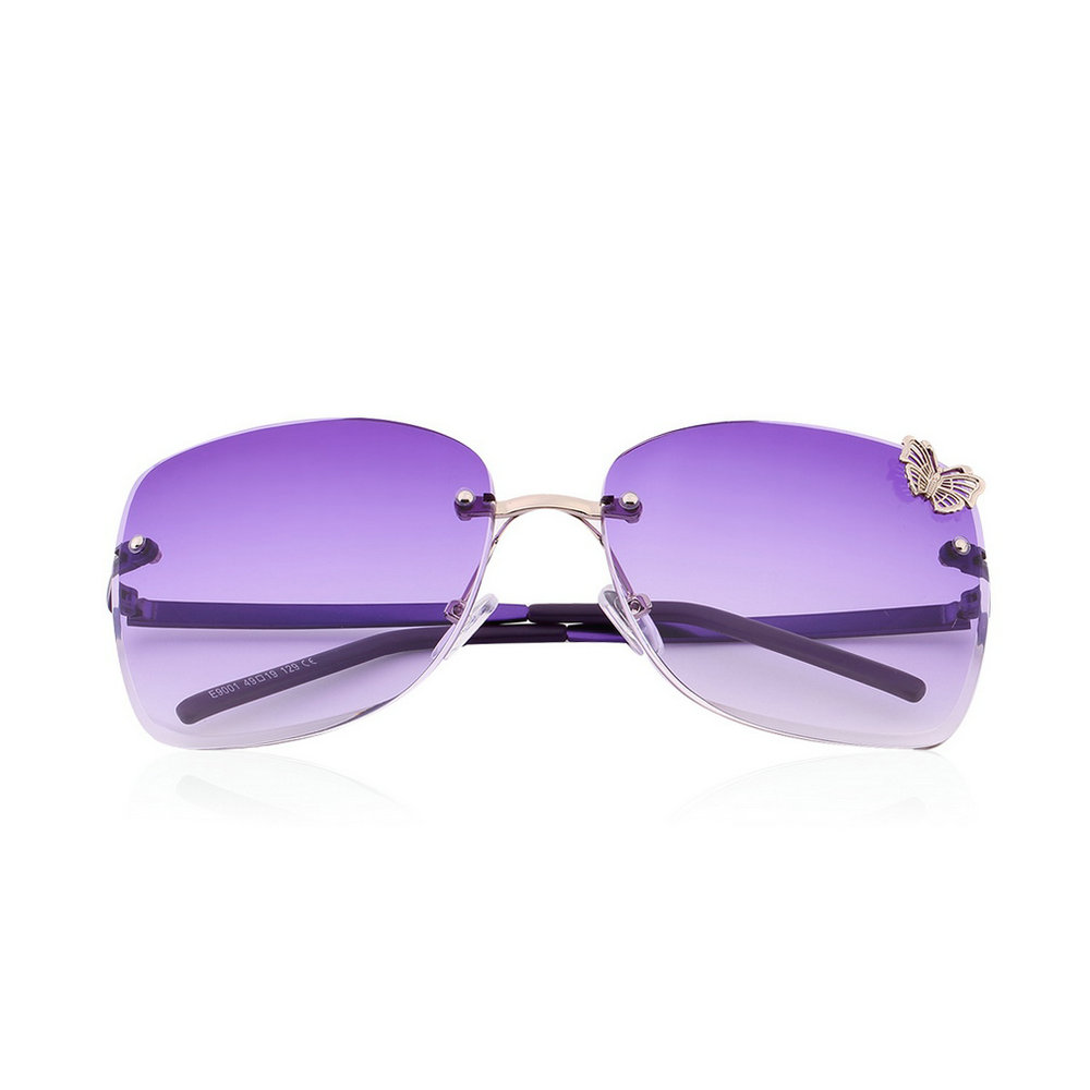 Rimless Butterfly Glasses : Womens Rimless Butterfly Rectangular Large Gradient Metal ...