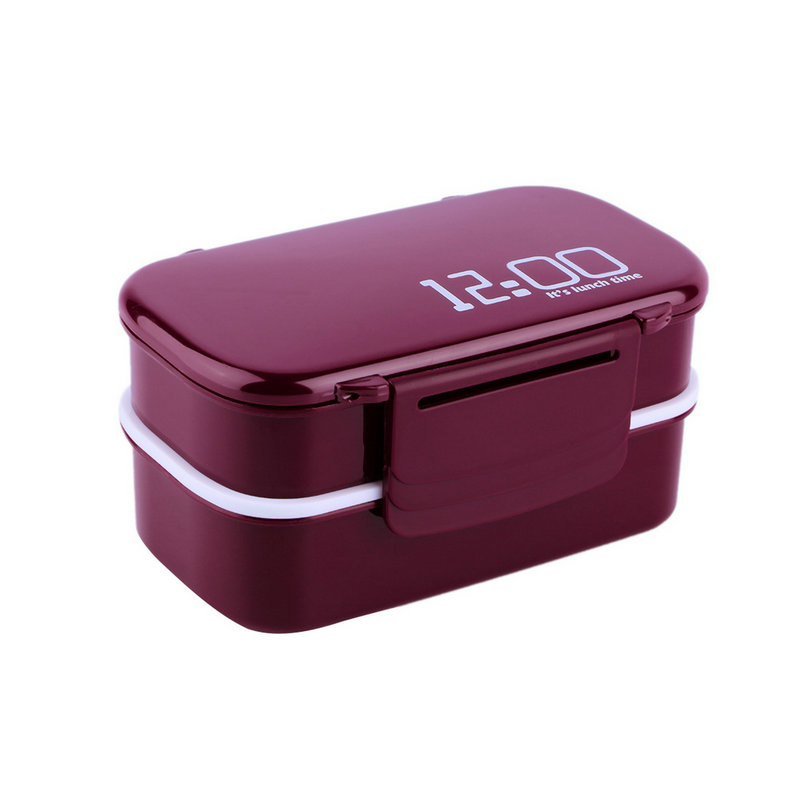 portable 2 layers bento lunch box plastic food container lunch container e5 ebay. Black Bedroom Furniture Sets. Home Design Ideas