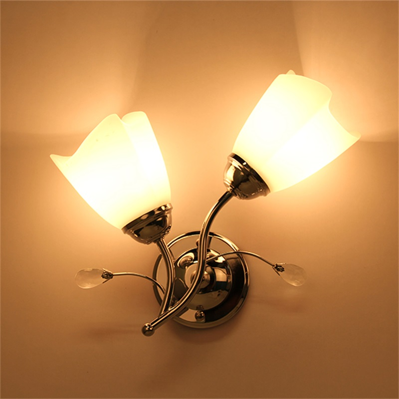 Single Chrome Wall Lights : Single/Double Chrome Wall Light Glass Lamp Sconce Lighting Corridor Living KG eBay