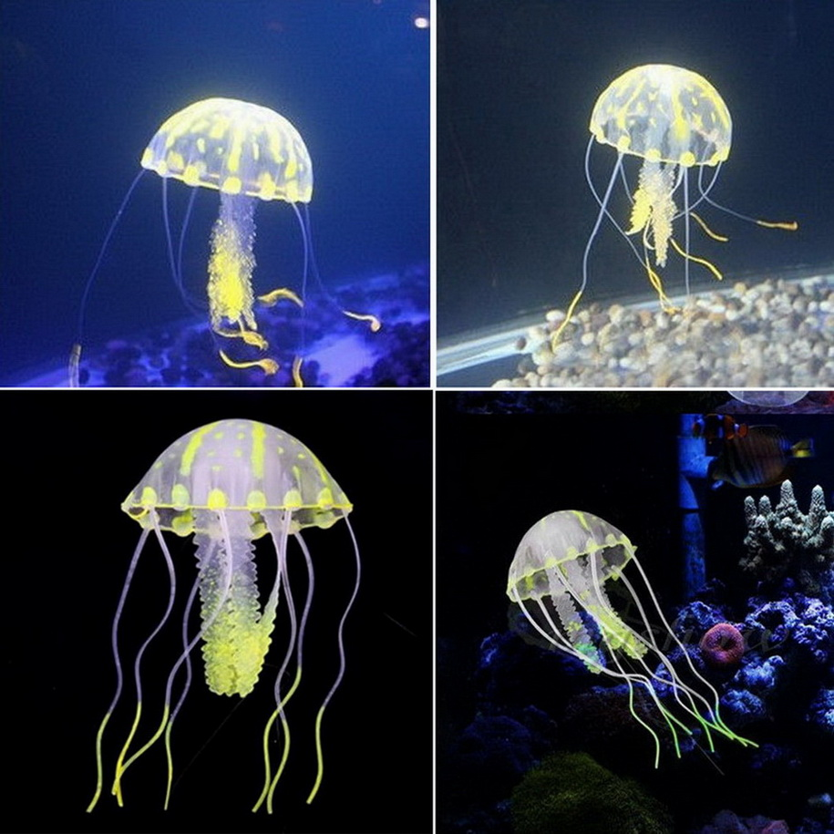 Glowing effect artificial jellyfish ornament fish tank for Aquarium jellyfish decoration