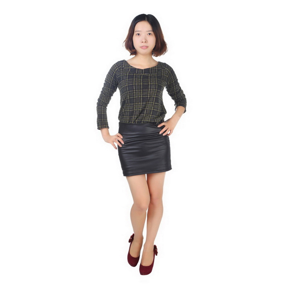 high waisted bodycon faux leather casual look