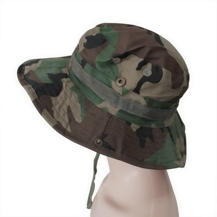 Fishing hiking boonie snap brim military bucket sun hat for Fishing boonie hat
