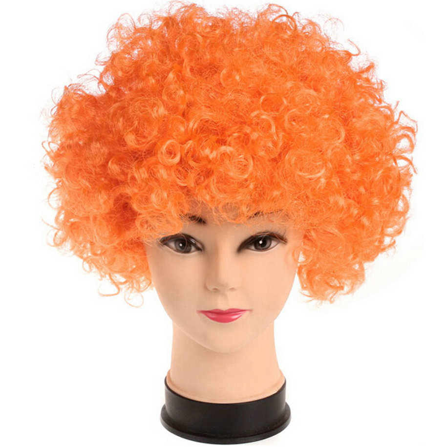 Disco Party Afro Clown Hair Football Fan Adult Child Costume Curly ...