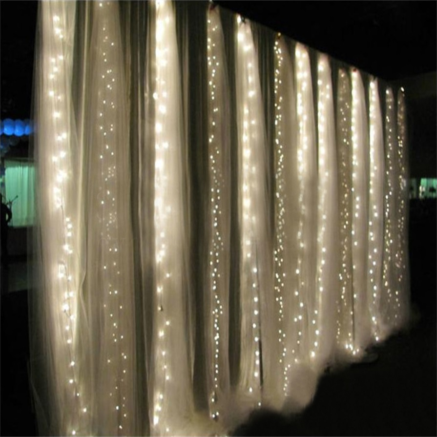 360led curtain fairy light waterfall indoor outdoor. Black Bedroom Furniture Sets. Home Design Ideas