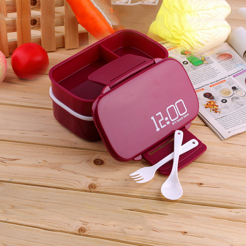 portable 2 layers bento lunch box plastic food container lunch container lot dp ebay. Black Bedroom Furniture Sets. Home Design Ideas