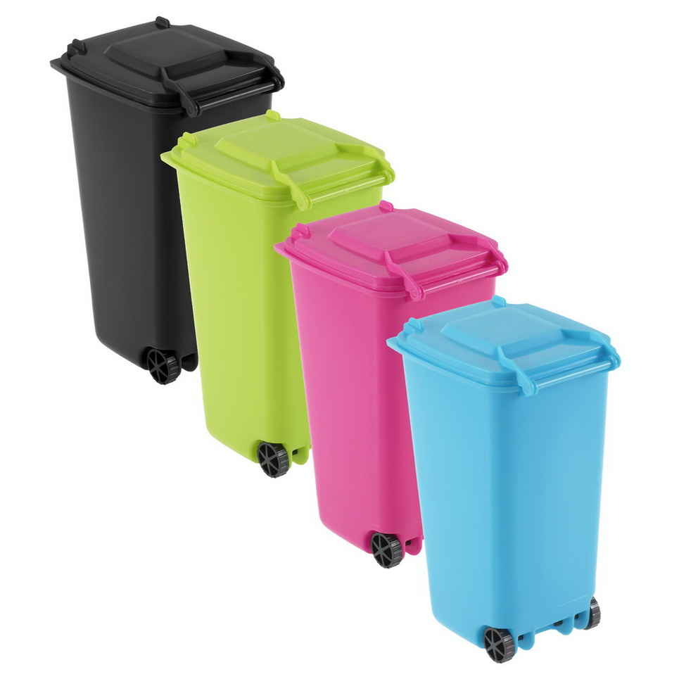 Small wheelie bin desk tidy office desktop stationery organiser pencil holder hr ebay - Desk stationery organiser ...