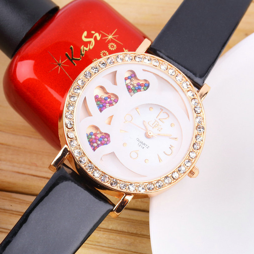 New Fashion Round Dial Girl's Analog Watch with Crystals & Beads Decoration S2