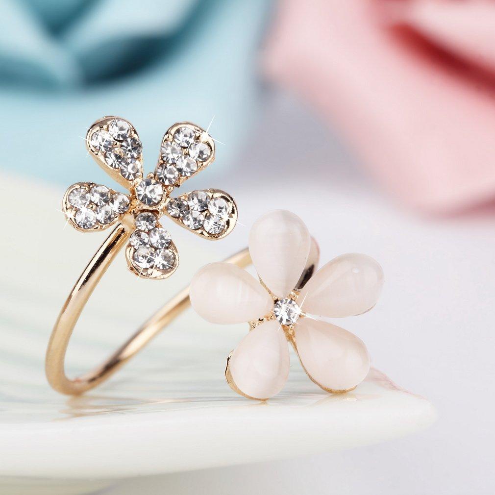 1 Pc Crystal Double Daisy Flower Petals Ring Adjustable Rhinestone