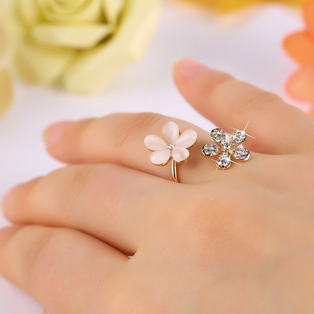 1 pc crystal double daisy flower petals ring adjustable rhinestone 1 pc crystal double daisy flower petals ring adjustable rhinestone hu izmirmasajfo
