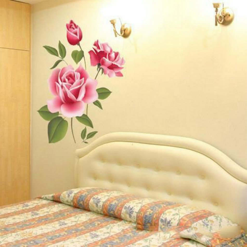 Rose flower wall stickers removable decal home decor diy art 1 x wall sticker amipublicfo Choice Image